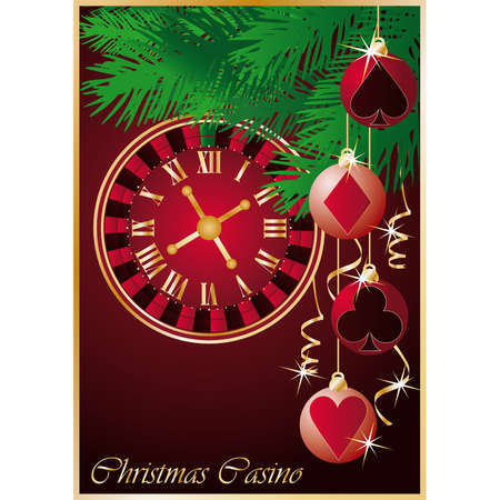 midnight hour: Christmas casino background, roulette - clock and xmas balls. illustration