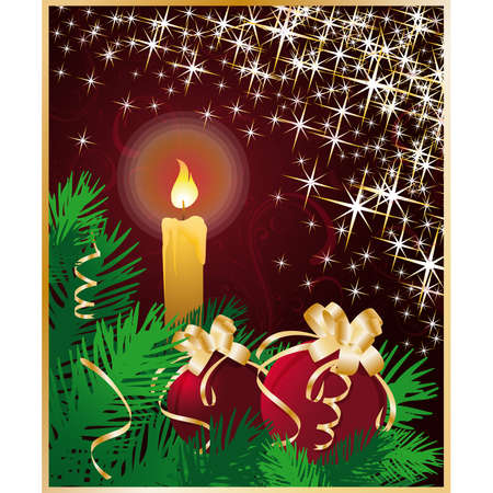 Christmas greeting card with candle and xmas balls. Stock Vector - 8032195