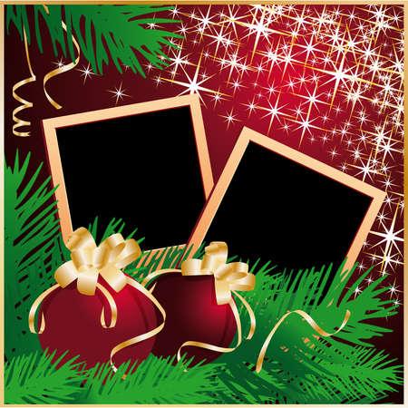 photo album page: Marco de felicitaciones de Navidad con bolas de xmas. Ilustraci�n