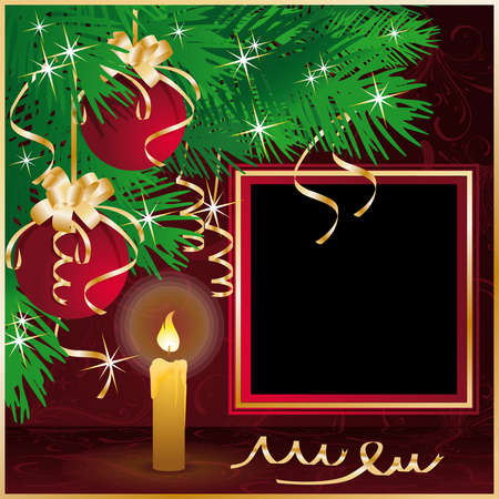 Christmas frame for photo with candle and xmas balls. illustration Vector