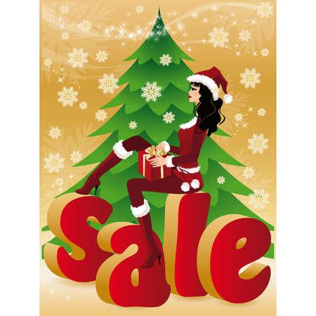 Christmas sale card. Santa-girl with gift. illustration. Vector