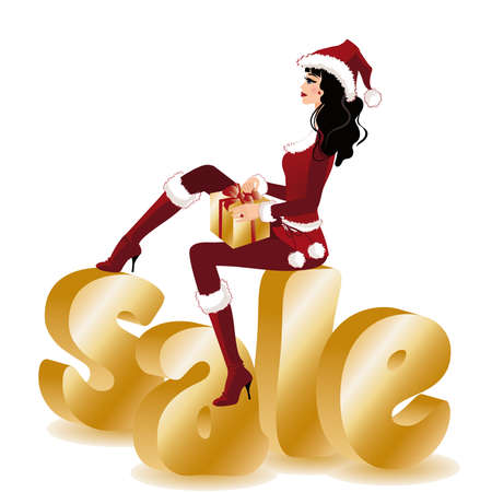 shoppping: Christmas sale banner. Beauty shopping christmas girl in santa hat with gift .  illustration