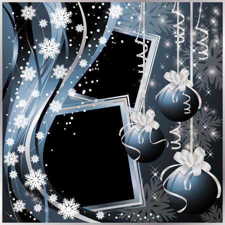 photo album page: Dos marcos de Navidad en estilo de reserva de chatarra. Ilustraci�n