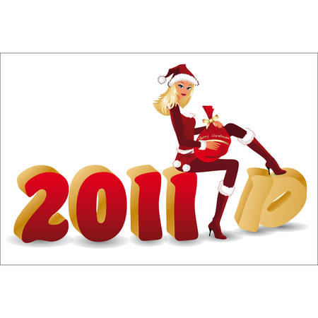 New 2011 year banner with santa-girl in 3D image.   Stock Vector - 8053394