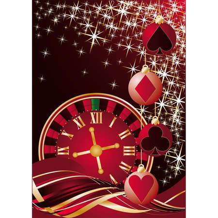 oclock: Christmas casino greeting card.  illustration Illustration