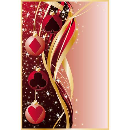 Christmas casino. Gambling illustration with poker elements and xmas balls. Stock Vector - 8078183