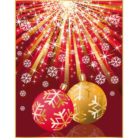 Christmas greeting card with two balls  Vector