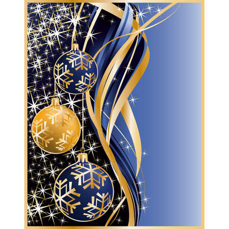 Golden blue greeting card with christmas balls  Vector