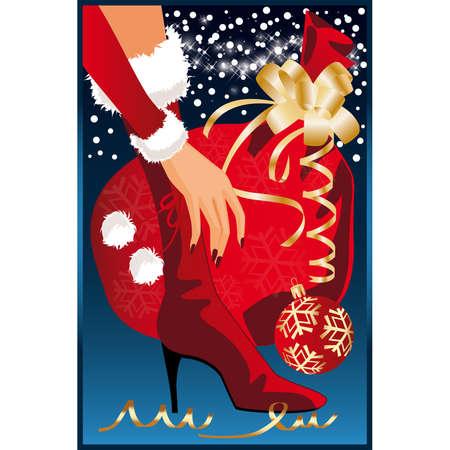 Christmas card. Santa girl with gift  Vector