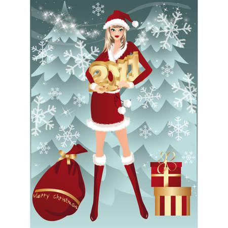 Santa girl has control over figures 2011  Vector