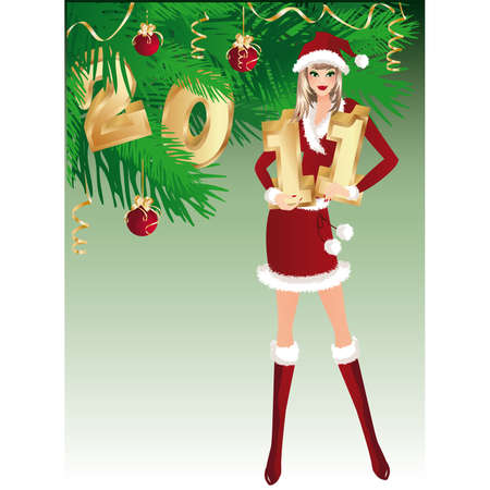 New year greeting card. Santa girl and numbers &quot,2011&quot,.  Vector