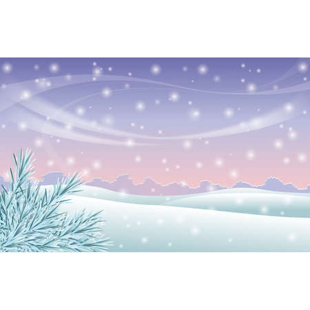 Winter scene background with winter trees on a snowy hillside  Vector