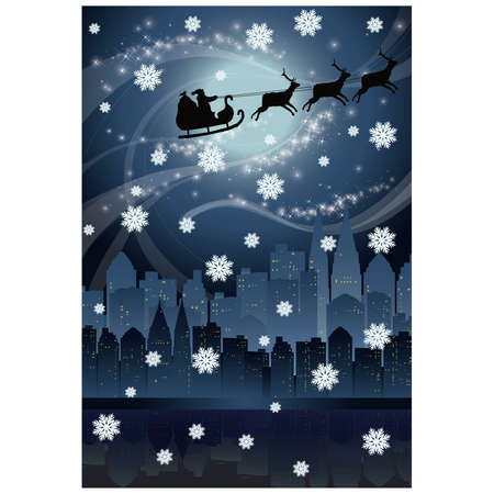 Urban holiday card with Santa claus  Vector