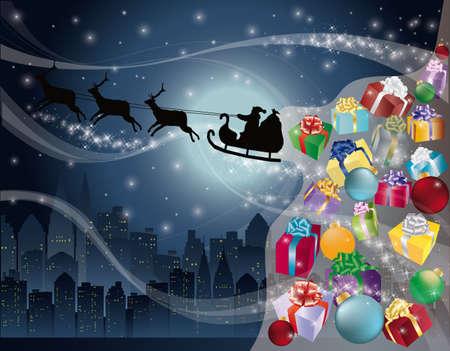 Cityscape de invierno. Tarjeta de Navidad con Pap� Noel y regalos de vacaciones.