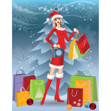 christmas bonus: Christmas shopping card with Santa girl.   illustration