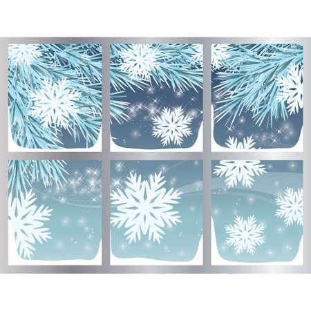 vista ventana: Fondo de invierno con copos de nieve, ilustraci�n