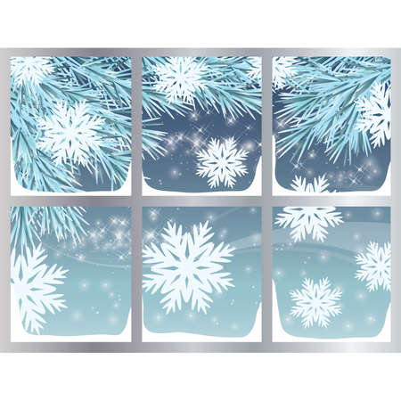 Winter background with snowflakes,  illustration Vector