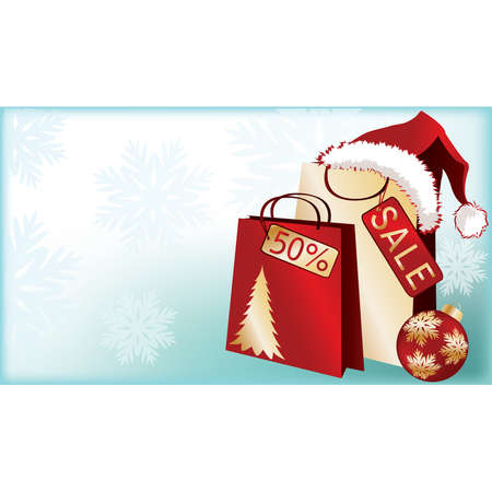 Banner de venta comercial de Navidad con sombrero de santa claus. Ilustraci�n  Vectores
