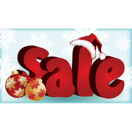 3D vector illustration of sign sale with santa claus hat  Vector