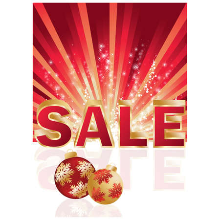 Christmas shopping card. 3D   illustration of the word sale Vector