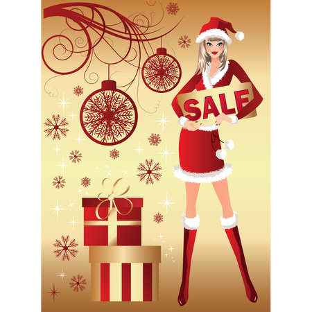Santa girl and christmas sale.  illustration Vector