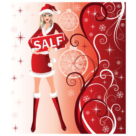 Christmas sale background with Santa girl en red dress and hat.  illustration Stock Vector - 8251422