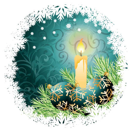 Christmas greeting card with candle and balls.  illustration Vector
