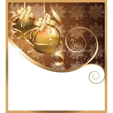 Tarjeta de felicitaci�n de Navidad con bolas de oro. Ilustraci�n