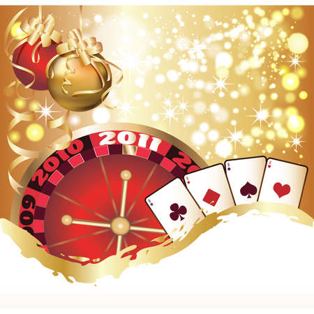 Casino Christmas greeting card.  illustration Vector