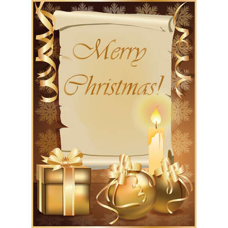 Golden Christmas background with candle.   illustration Stock Vector - 8304736