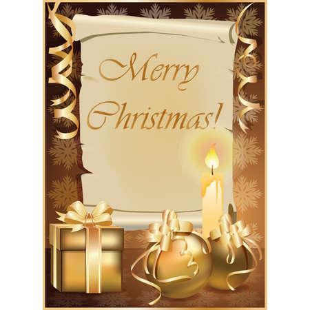Golden Christmas Background with Kerze.   Abbildung