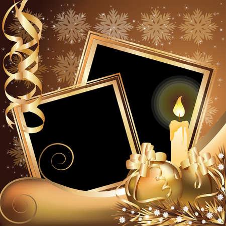 christmas photo frame: Christmas golden frame ,  illustration Illustration