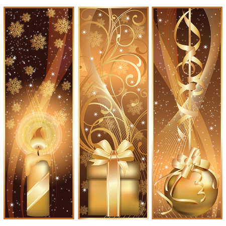 Set golden christmas banner.  illustration Vector