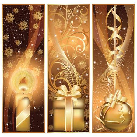 spangle: Set golden christmas banner.  illustration Illustration