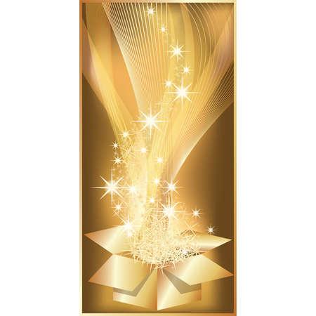 Golden Christmas vertical banner with gift. illustration Vector