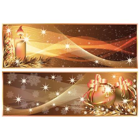 Golden Christmas horizontal banners. illustration Vector
