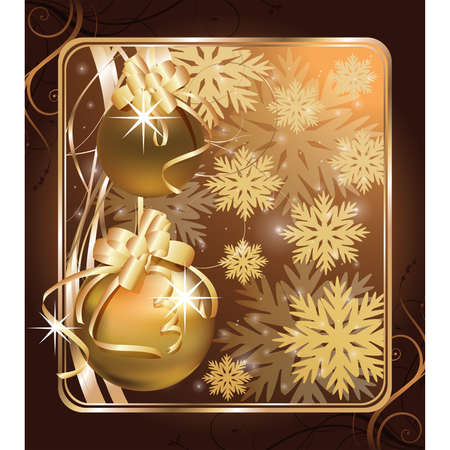 Christmas greeting golden card.   illustration Vector