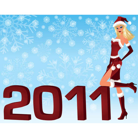 Christmas girl with 2011 year. vector illustration  Vector