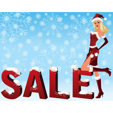 Christmas sale image with Santa girl. vector illustration Vector