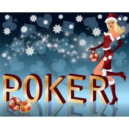 Christmas poker background. vector illustration Vector