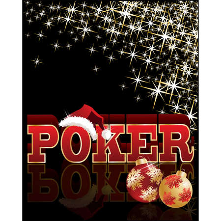 ace of diamonds: Christmas poker banner with santa hat. vector illustration