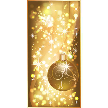 Golden banner with christmas ball. vector illustration Stock Vector - 8406843
