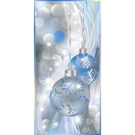 Silver christmas banner with two balls. vector illustration Vector