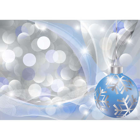 curving: Christmas greeting card with blue-silver ball. vector illustration