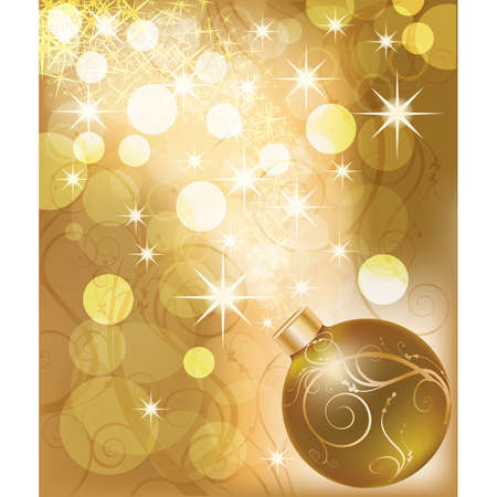 scrap gold: New year golden card with christmas ball. vector illustration Illustration