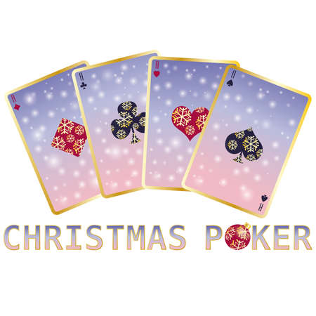 Christmas poker cards, vector illustration Stock Vector - 8406844