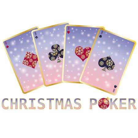 Christmas poker cards, vector illustration Stock Vector - 8406844