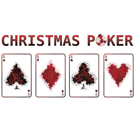 Christmas poker cards with snow. vector illustration Vector