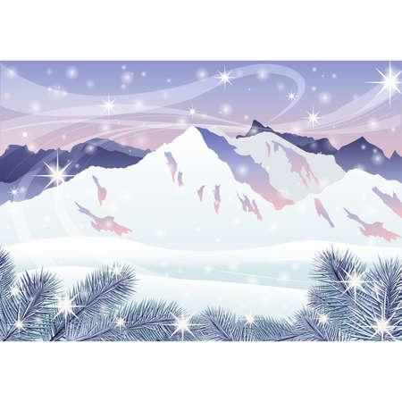 frosty: Christmas card. Winter mountain landscape. vector illustration