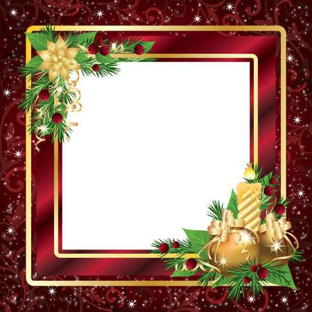 Tarjeta de marco o invitaci�n de Navidad, ilustraci�n vectorial Vectores